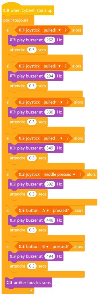 """Programme Instrument de musique avec  la carte CyberPi (en mode """"Téléverser"""")"""