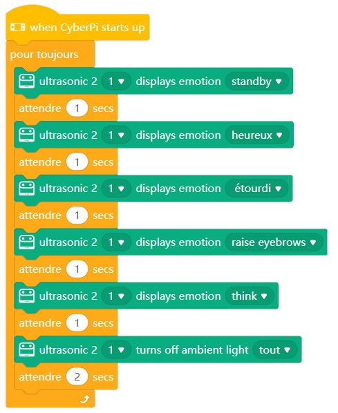 Emotions du module Ultrasonic Sensor 2