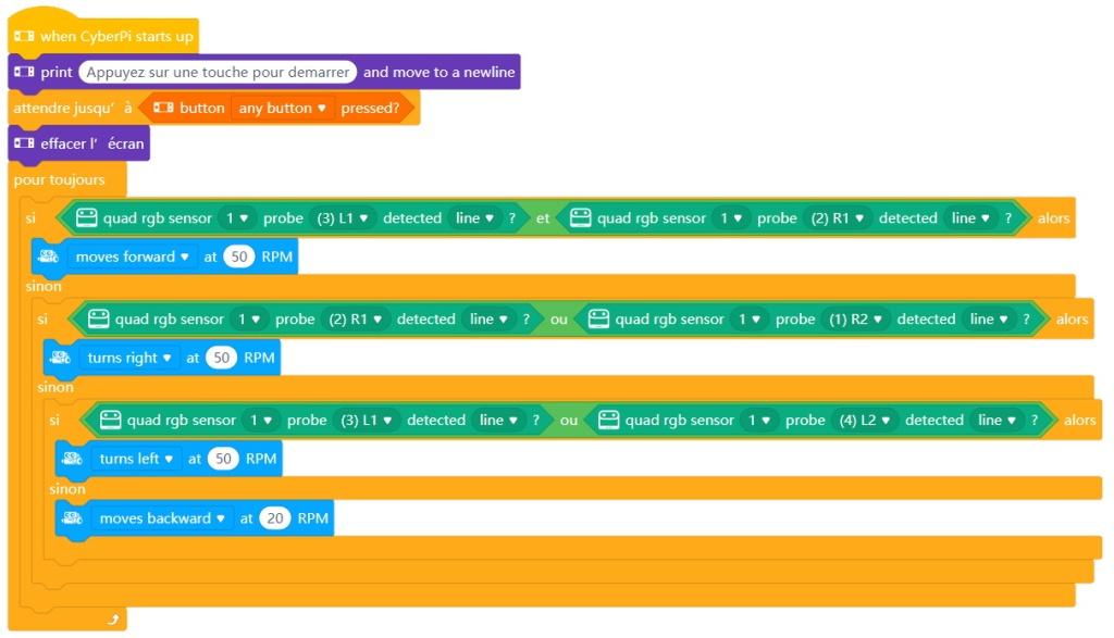 Programme de suivi de ligne avec le Quad RGB Sensor