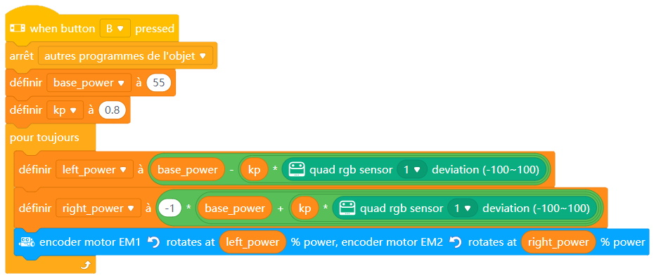Programme (EN) Kp line follow avec le Quad RGB Sensor