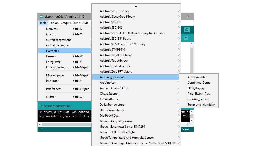 Exemples de code pour l'Arduino Sensor Kit