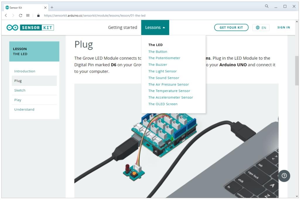 Documentation de l'Arduino Sensor Kit sur le site de la fondation Arduino