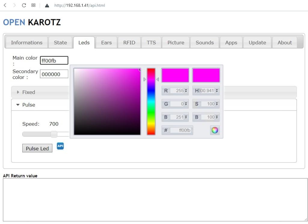 Contrôle de la LED RGB avec OpenKarotz