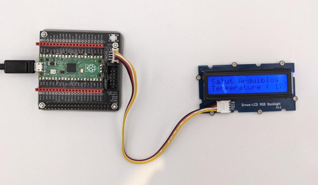 Afficheur LCD Grove sur la carte PicoHat